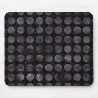 CIRCLES1 BLACK MARBLE & BLACK WATERCOLOR MOUSE PAD