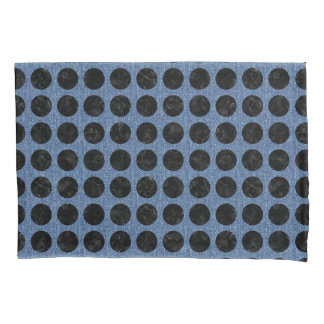 CIRCLES1 BLACK MARBLE & BLUE DENIM (R) PILLOWCASE