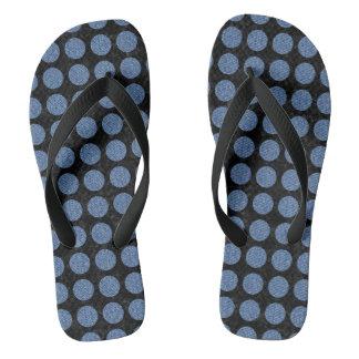 CIRCLES1 BLACK MARBLE & BLUE DENIM THONGS