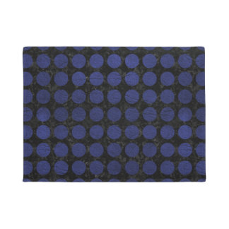 CIRCLES1 BLACK MARBLE & BLUE LEATHER DOORMAT