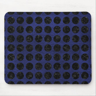 CIRCLES1 BLACK MARBLE & BLUE LEATHER (R) MOUSE PAD