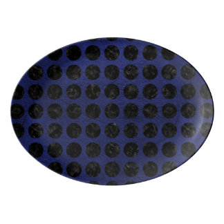 CIRCLES1 BLACK MARBLE & BLUE LEATHER (R) PORCELAIN SERVING PLATTER