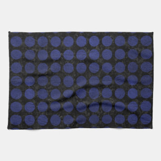 CIRCLES1 BLACK MARBLE & BLUE LEATHER TEA TOWEL