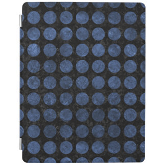 CIRCLES1 BLACK MARBLE & BLUE STONE iPad COVER