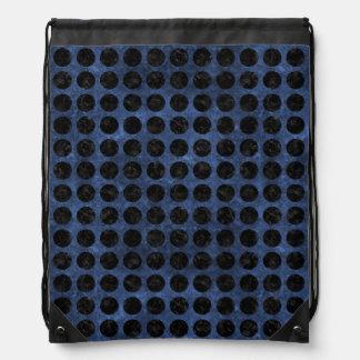 CIRCLES1 BLACK MARBLE & BLUE STONE (R) DRAWSTRING BAG