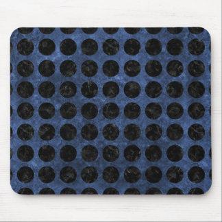 CIRCLES1 BLACK MARBLE & BLUE STONE (R) MOUSE PAD