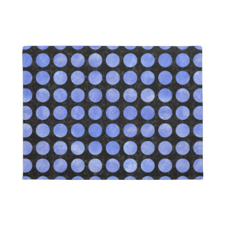 CIRCLES1 BLACK MARBLE & BLUE WATERCOLOR DOORMAT