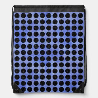 CIRCLES1 BLACK MARBLE & BLUE WATERCOLOR (R) DRAWSTRING BAG