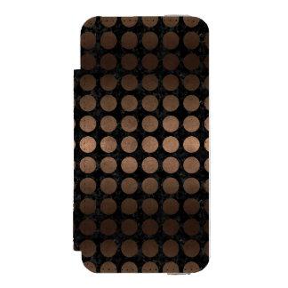 CIRCLES1 BLACK MARBLE & BRONZE METAL INCIPIO WATSON™ iPhone 5 WALLET CASE