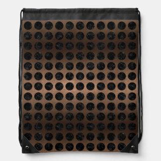 CIRCLES1 BLACK MARBLE & BRONZE METAL (R) DRAWSTRING BAG