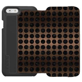 CIRCLES1 BLACK MARBLE & BRONZE METAL (R) INCIPIO WATSON™ iPhone 6 WALLET CASE