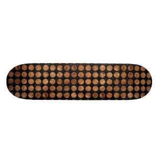 CIRCLES1 BLACK MARBLE & BROWN STONE 21.3 CM MINI SKATEBOARD DECK