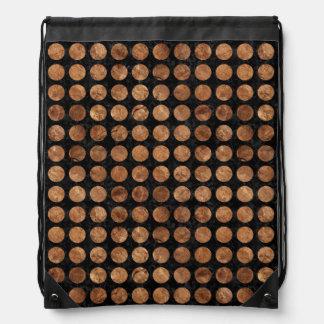 CIRCLES1 BLACK MARBLE & BROWN STONE DRAWSTRING BAG