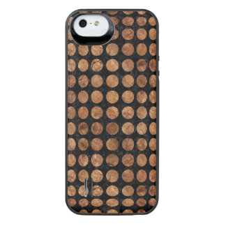 CIRCLES1 BLACK MARBLE & BROWN STONE iPhone SE/5/5s BATTERY CASE