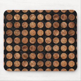 CIRCLES1 BLACK MARBLE & BROWN STONE MOUSE PAD