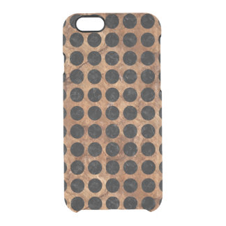 CIRCLES1 BLACK MARBLE & BROWN STONE (R) CLEAR iPhone 6/6S CASE