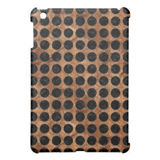 CIRCLES1 BLACK MARBLE & BROWN STONE (R) iPad MINI COVER