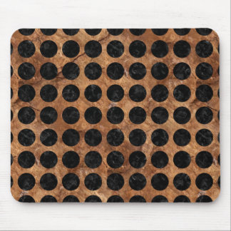 CIRCLES1 BLACK MARBLE & BROWN STONE (R) MOUSE PAD