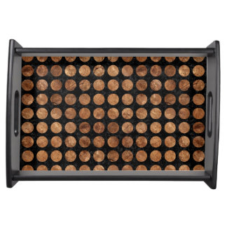 CIRCLES1 BLACK MARBLE & BROWN STONE SERVING TRAY
