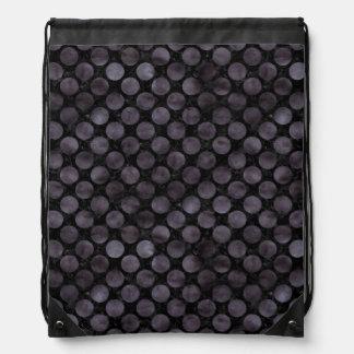 CIRCLES2 BLACK MARBLE & BLACK WATERCOLOR DRAWSTRING BAG