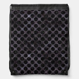 CIRCLES2 BLACK MARBLE & BLACK WATERCOLOR (R) DRAWSTRING BAG