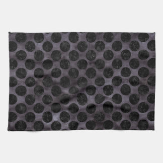 CIRCLES2 BLACK MARBLE & BLACK WATERCOLOR (R) TEA TOWEL