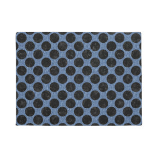 CIRCLES2 BLACK MARBLE & BLUE DENIM (R) DOORMAT