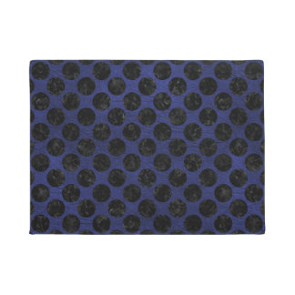 CIRCLES2 BLACK MARBLE & BLUE LEATHER (R) DOORMAT