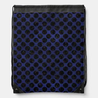 CIRCLES2 BLACK MARBLE & BLUE LEATHER (R) DRAWSTRING BAG