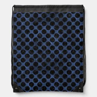 CIRCLES2 BLACK MARBLE & BLUE STONE (R) DRAWSTRING BAG