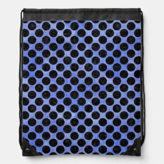 CIRCLES2 BLACK MARBLE & BLUE WATERCOLOR (R) DRAWSTRING BAG