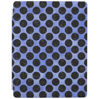 CIRCLES2 BLACK MARBLE & BLUE WATERCOLOR (R) iPad COVER