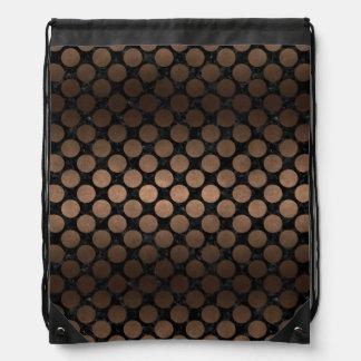 CIRCLES2 BLACK MARBLE & BRONZE METAL DRAWSTRING BAG