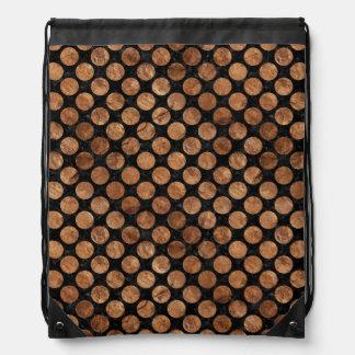 CIRCLES2 BLACK MARBLE & BROWN STONE DRAWSTRING BAG