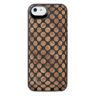 CIRCLES2 BLACK MARBLE & BROWN STONE iPhone SE/5/5s BATTERY CASE