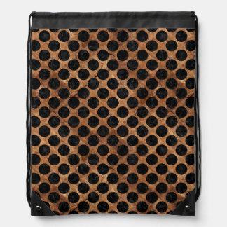 CIRCLES2 BLACK MARBLE & BROWN STONE (R) DRAWSTRING BAG