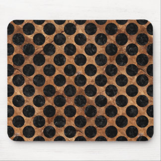 CIRCLES2 BLACK MARBLE & BROWN STONE (R) MOUSE PAD