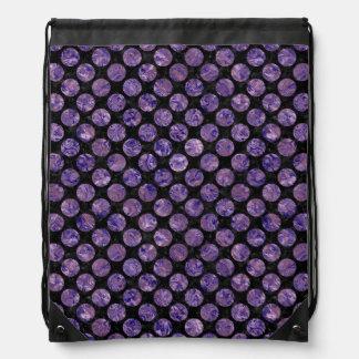 CIRCLES2 BLACK MARBLE & PURPLE MARBLE DRAWSTRING BAG