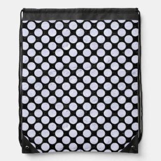 CIRCLES2 BLACK MARBLE & WHITE MARBLE DRAWSTRING BAG
