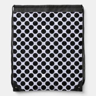 CIRCLES2 BLACK MARBLE & WHITE MARBLE (R) DRAWSTRING BAG
