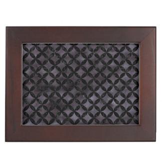 CIRCLES3 BLACK MARBLE & BLACK WATERCOLOR (R) KEEPSAKE BOX