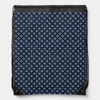 CIRCLES3 BLACK MARBLE & BLUE DENIM (R) DRAWSTRING BAG