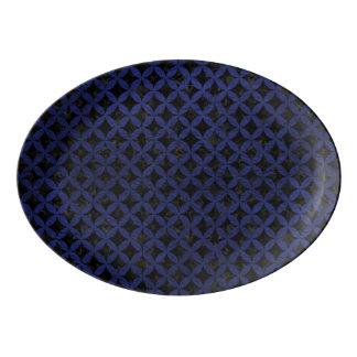 CIRCLES3 BLACK MARBLE & BLUE LEATHER PORCELAIN SERVING PLATTER