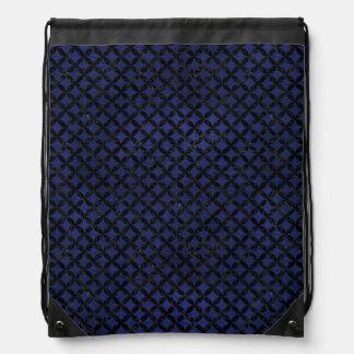 CIRCLES3 BLACK MARBLE & BLUE LEATHER (R) DRAWSTRING BAG
