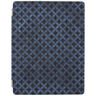 CIRCLES3 BLACK MARBLE & BLUE STONE iPad COVER