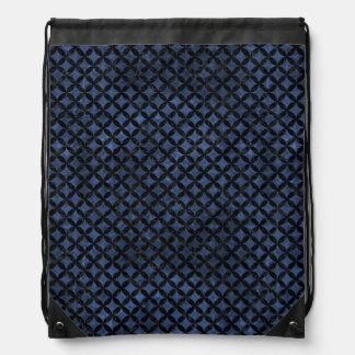 CIRCLES3 BLACK MARBLE & BLUE STONE (R) DRAWSTRING BAG