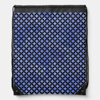 CIRCLES3 BLACK MARBLE & BLUE WATERCOLOR (R) DRAWSTRING BAG