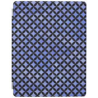 CIRCLES3 BLACK MARBLE & BLUE WATERCOLOR (R) iPad COVER