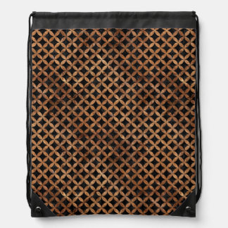 CIRCLES3 BLACK MARBLE & BROWN STONE DRAWSTRING BAG