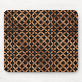 CIRCLES3 BLACK MARBLE & BROWN STONE MOUSE PAD